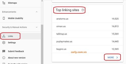 Dùng Google Search Console thu thập thông tin backlink
