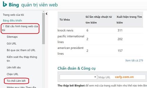 Từ chối backlink qua Bing Web Master