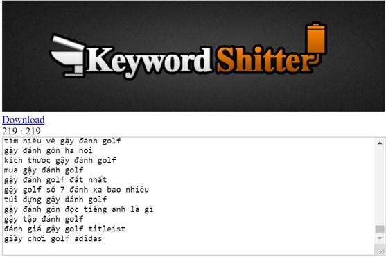 Công cụ Keywords Shitter
