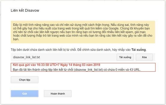 Upload file từ chối liên kết lên Google