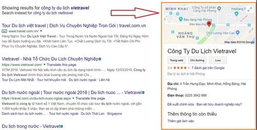 Thông tin Google My Business - Vietravel