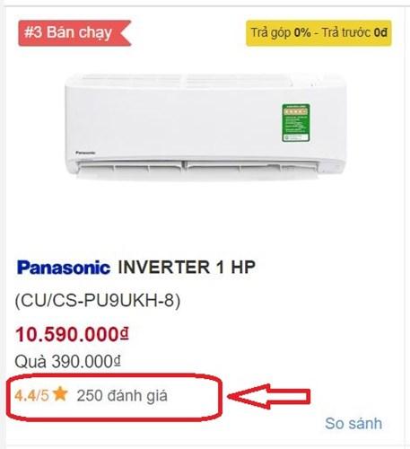 Đánh giá và cho điểm sản phẩm trên trang web