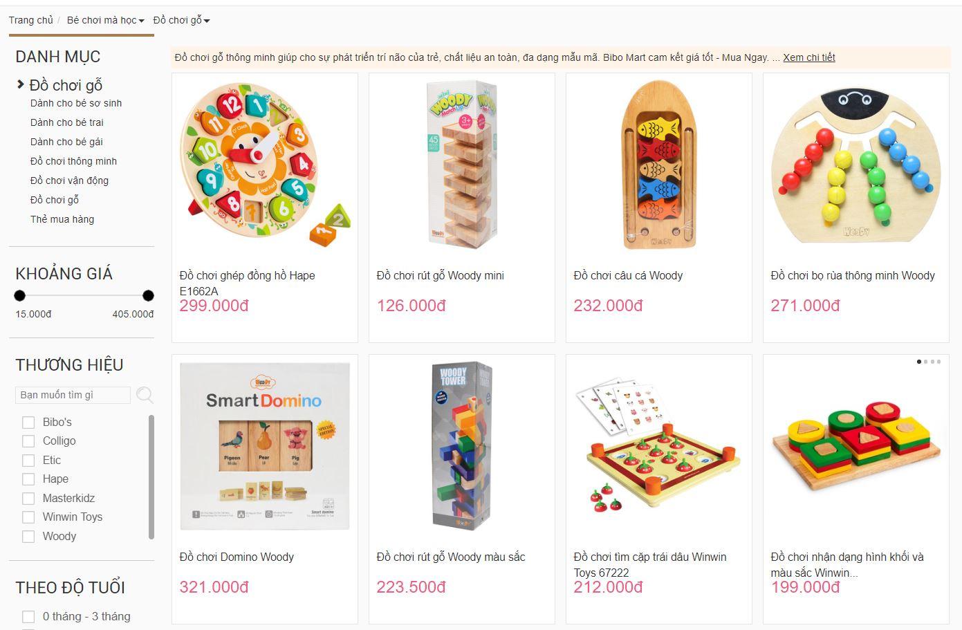 Trang danh mục đồ chơi bằng gỗ cho bé