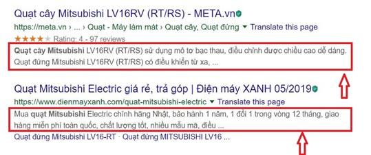 Nội dung thẻ Meta Description trên SERP