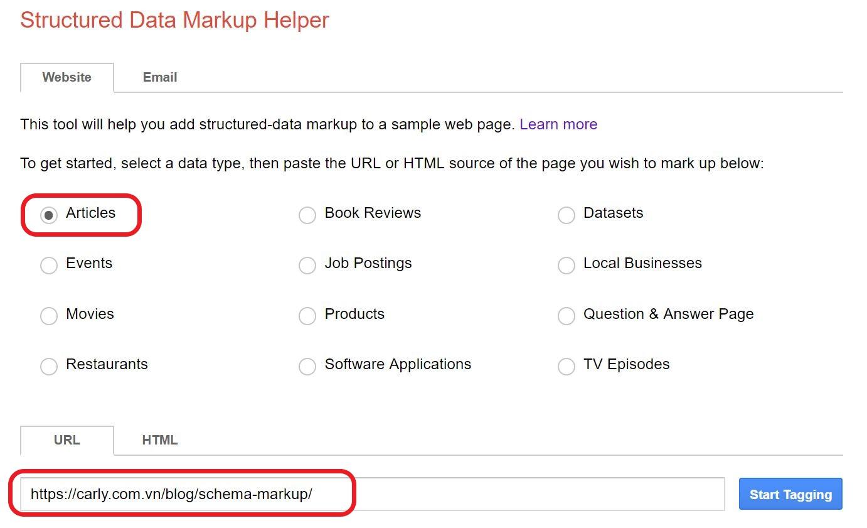 Chọn loại trang Schema và nhập URL