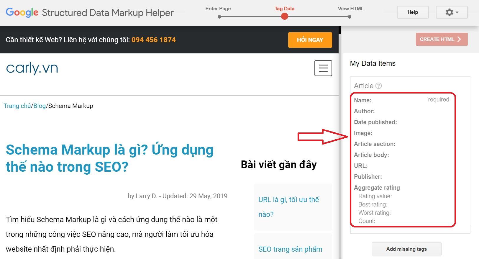 Cửa sổ nhập thông tin Schema cho Trang bài viết
