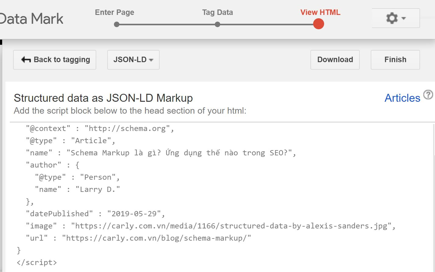 Trang kết quả HTML sau khi chọn đánh dấu Schema