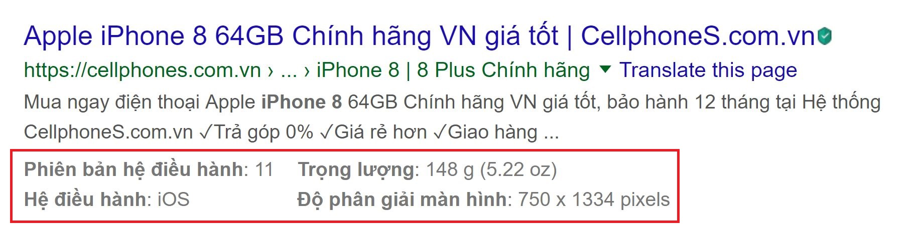 Rich Snippets sản phẩm apple iPhone 8 64GB